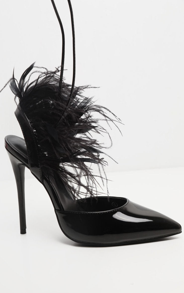 Black Feather Heel Ankle Tie Court Shoe 4