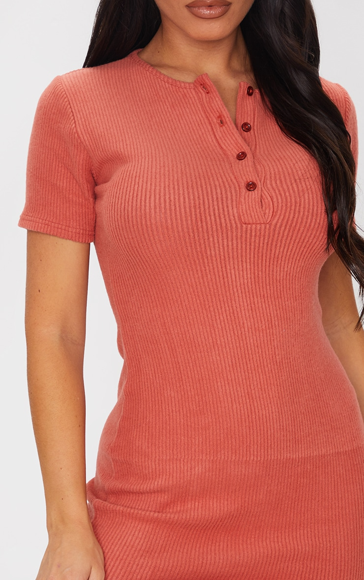 Terracotta Brushed Rib Short Sleeve Button Front Bodycon Dress 4