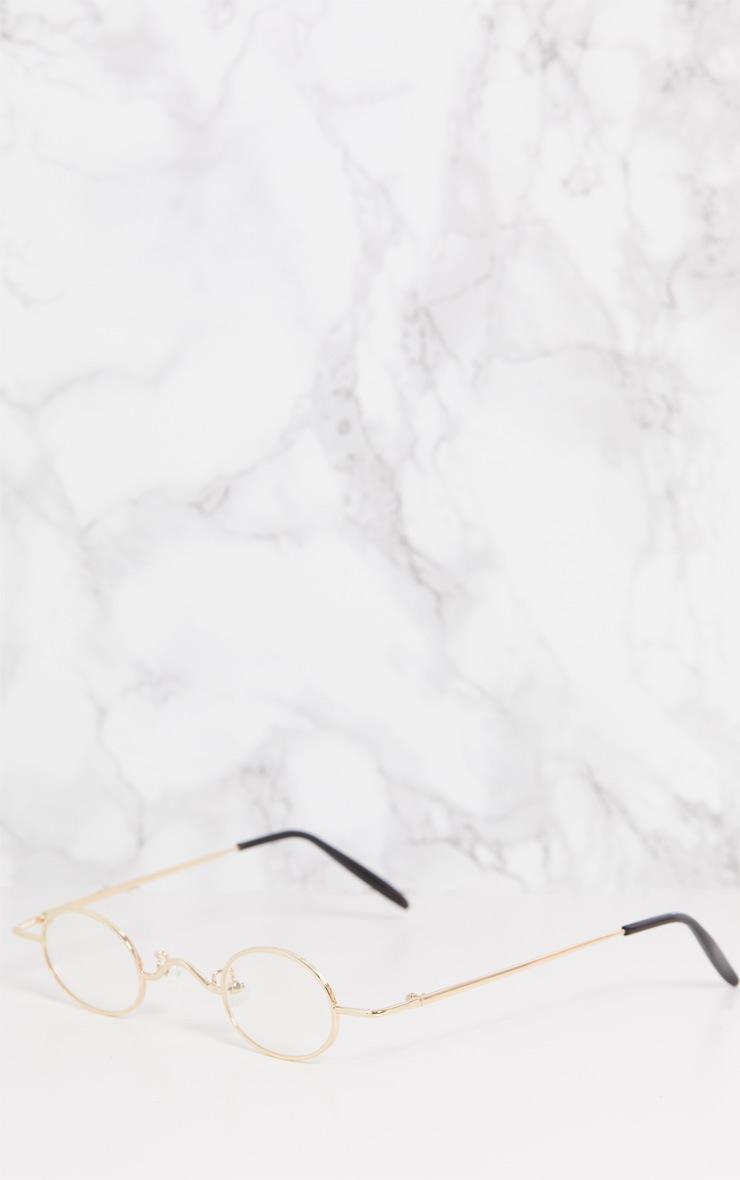 Gold Frame Black Lens Small Oval Flip Sunglasses 4