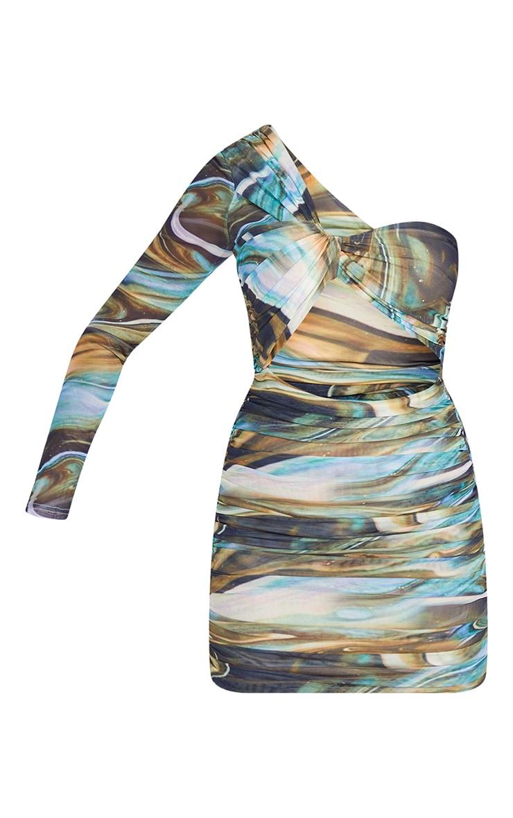 Multi Marble Print Mesh One Shoulder Detail Bodycon Dress 5