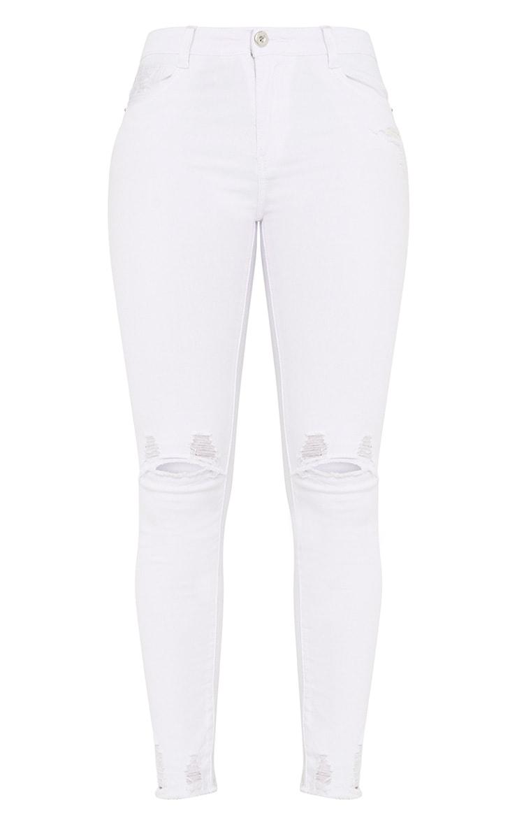 Honesty White Knee Rip Cut Hem Skinny Jean 3