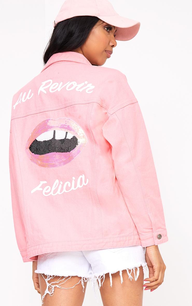 27f6a47d8 Pink Au Revoir Felicia Oversized Denim Jacket