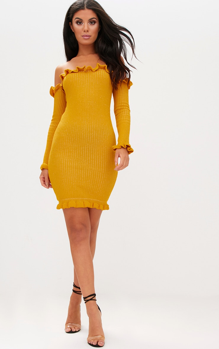 Mustard Ruffle Detail Bardot Mini Dress 4