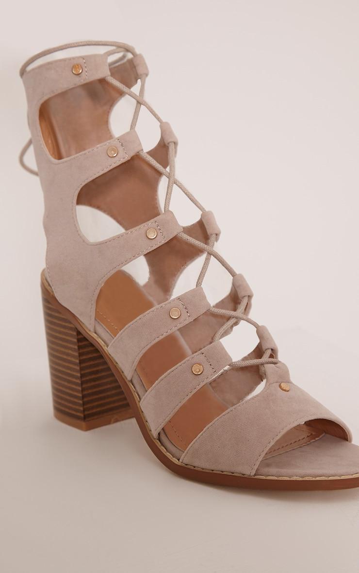 Moni Nude Faux Suede Lace Up Sandals 5