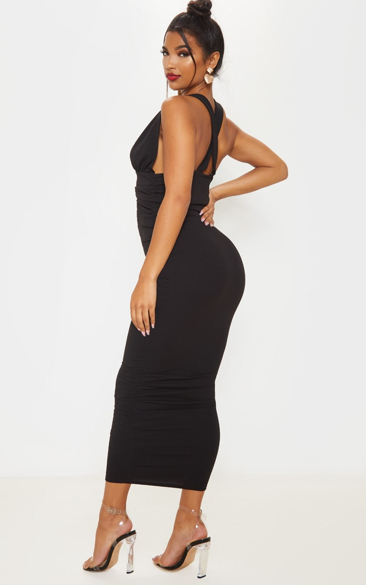 Black Deep Plunge Ruched Midaxi Dress 2