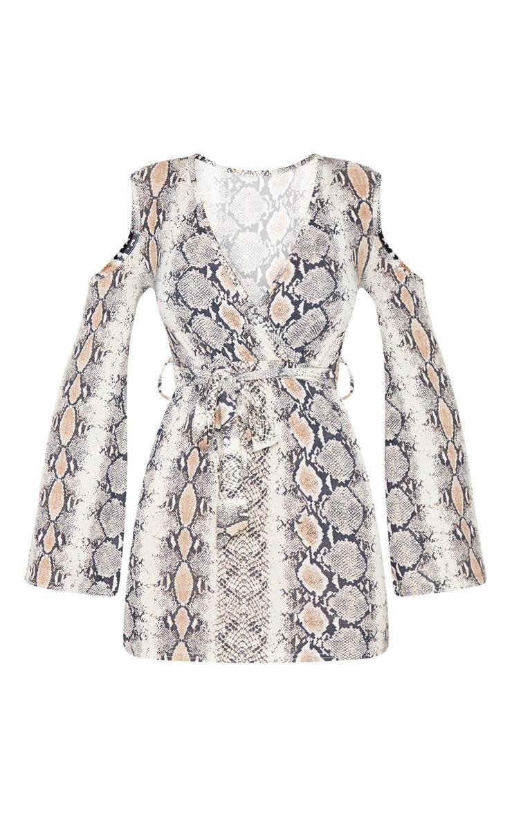 Snake Print Cold Shoulder Bodycon Dress 3