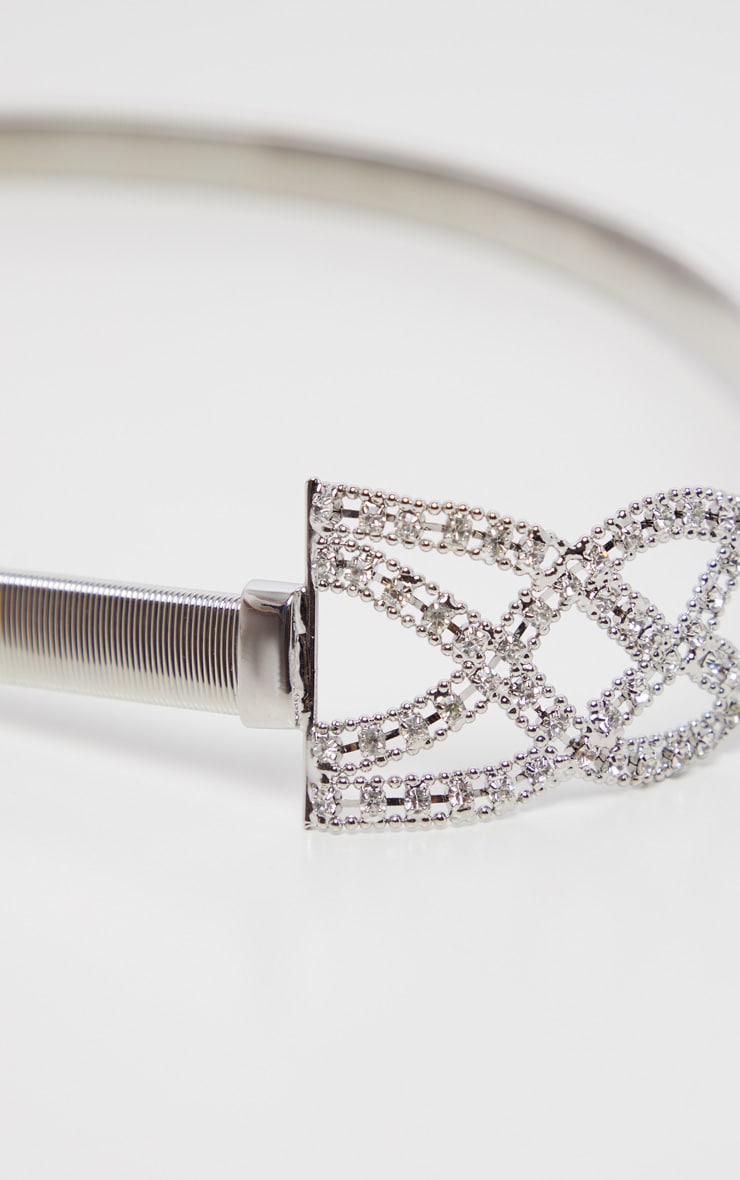 Silver Diamante Statement Buckle Waist Belt 2