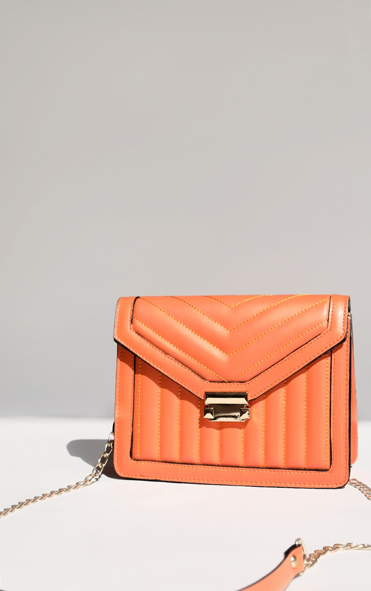 Orange Vertical Quilted Cross Body Bag 1