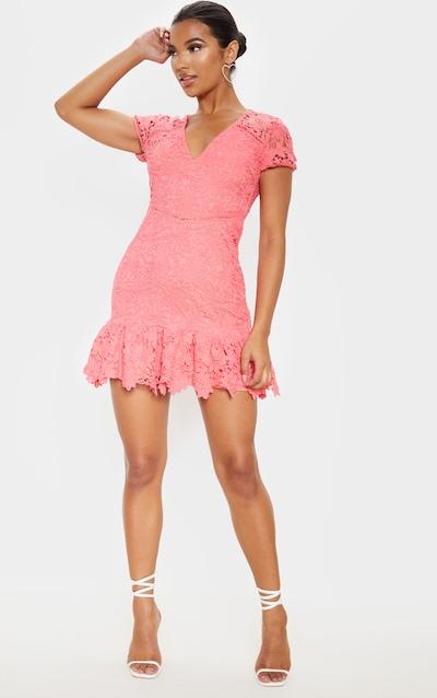 Pink Lace Cap Sleeve Skater Dress