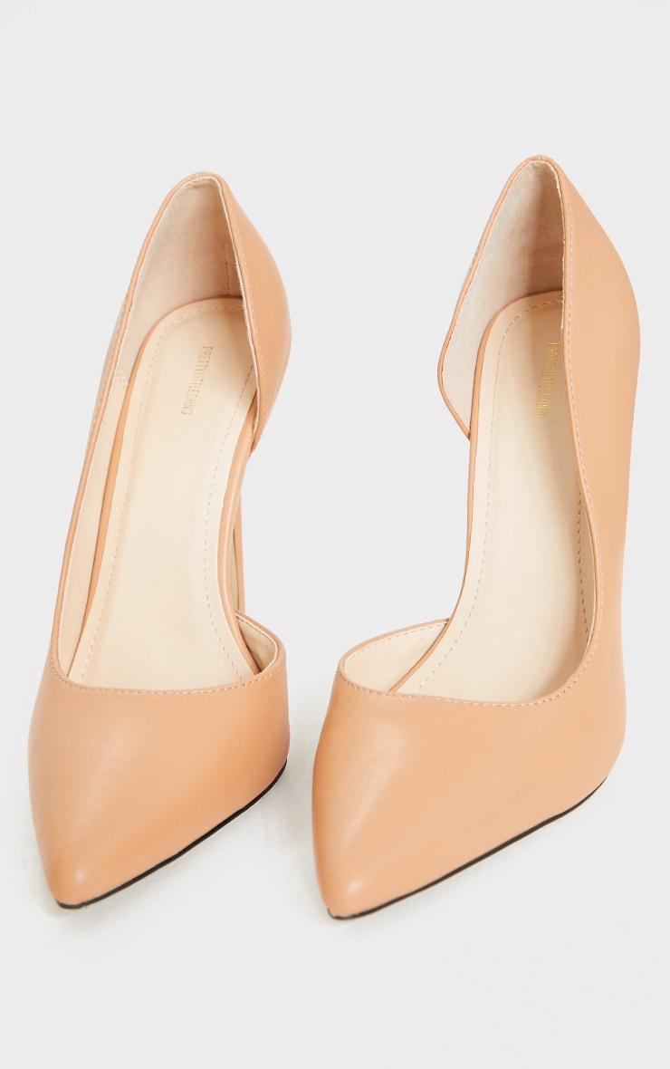 Tan Point Toe Cut Out Side Stiletto Court Shoes 4