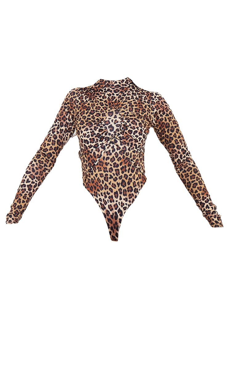 Brown Leopard Print Keyhole Detail High Neck Bodysuit 5