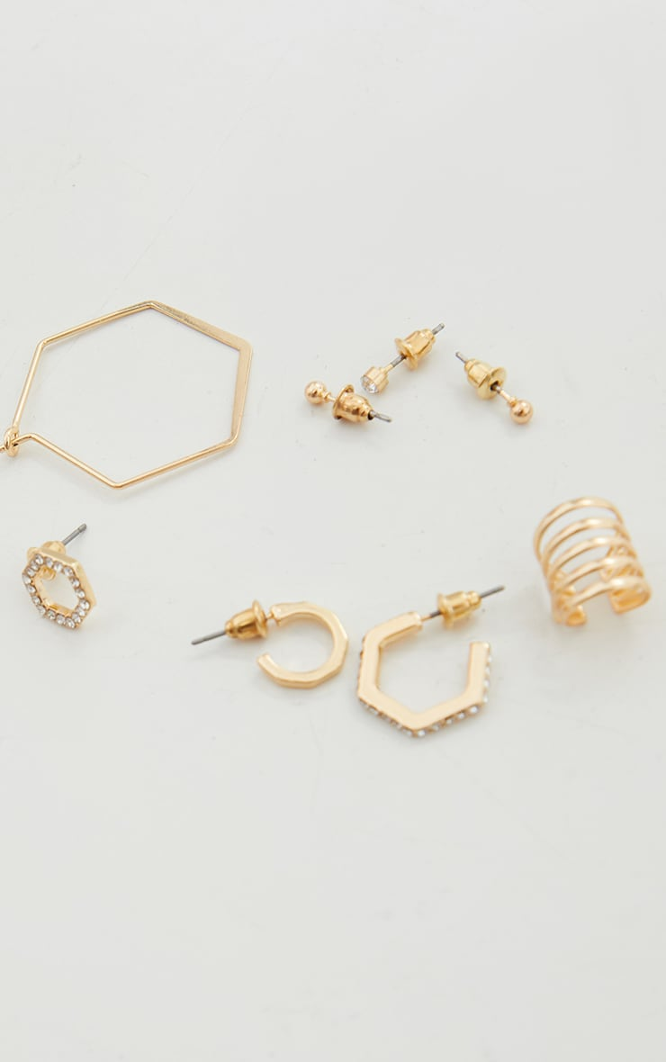 Gold Assorted Stud And Hoop Pack Earrings 3
