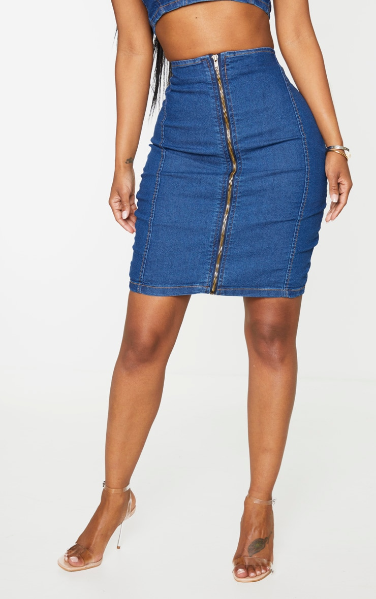 Shape Mid Wash Denim Zip Front Bodycon Skirt 2