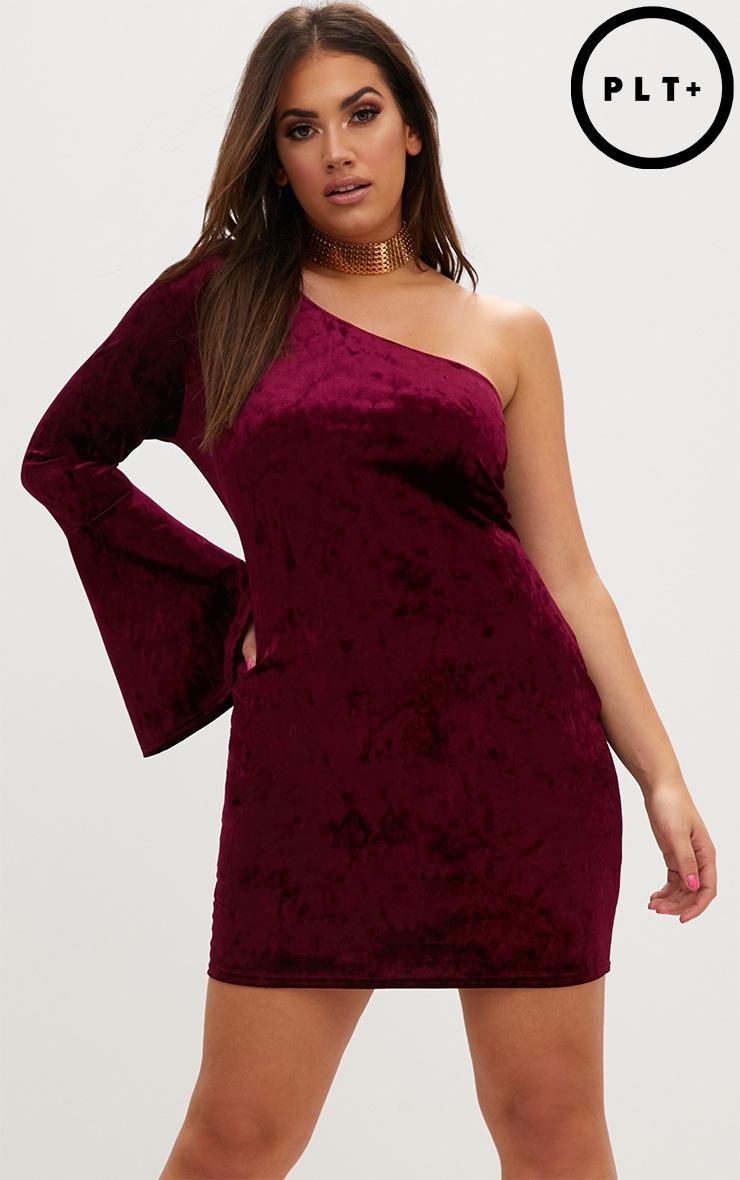 Plus Burgundy Crushed Velvet One Shoulder Bodycon Dress 1