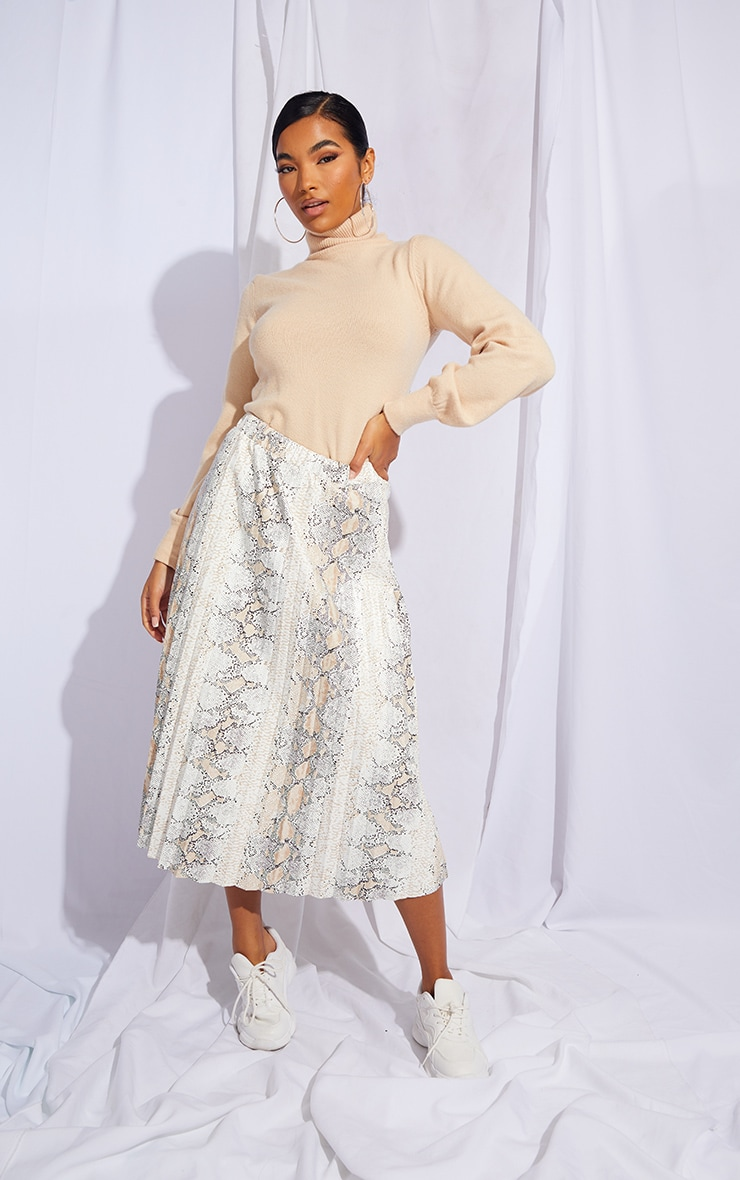 White Snake Faux Leather Pleated Midi Skirt 1