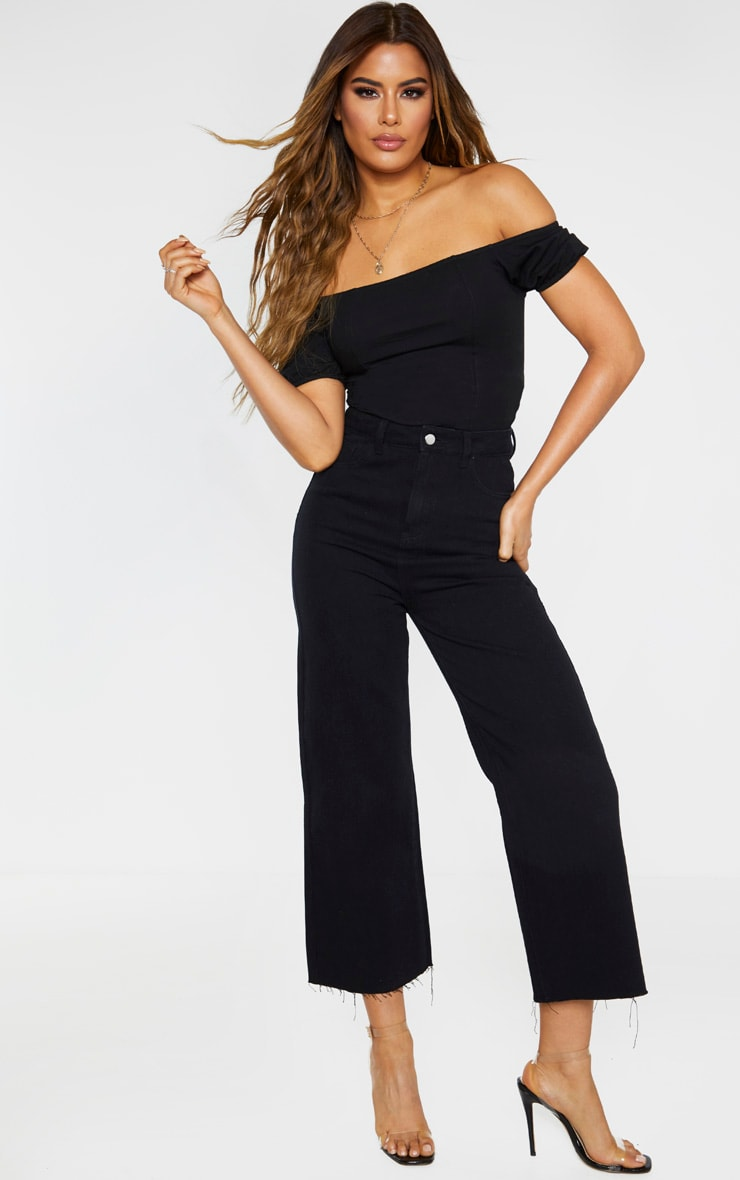 Tall Black Wide Leg Cropped Jeans 1