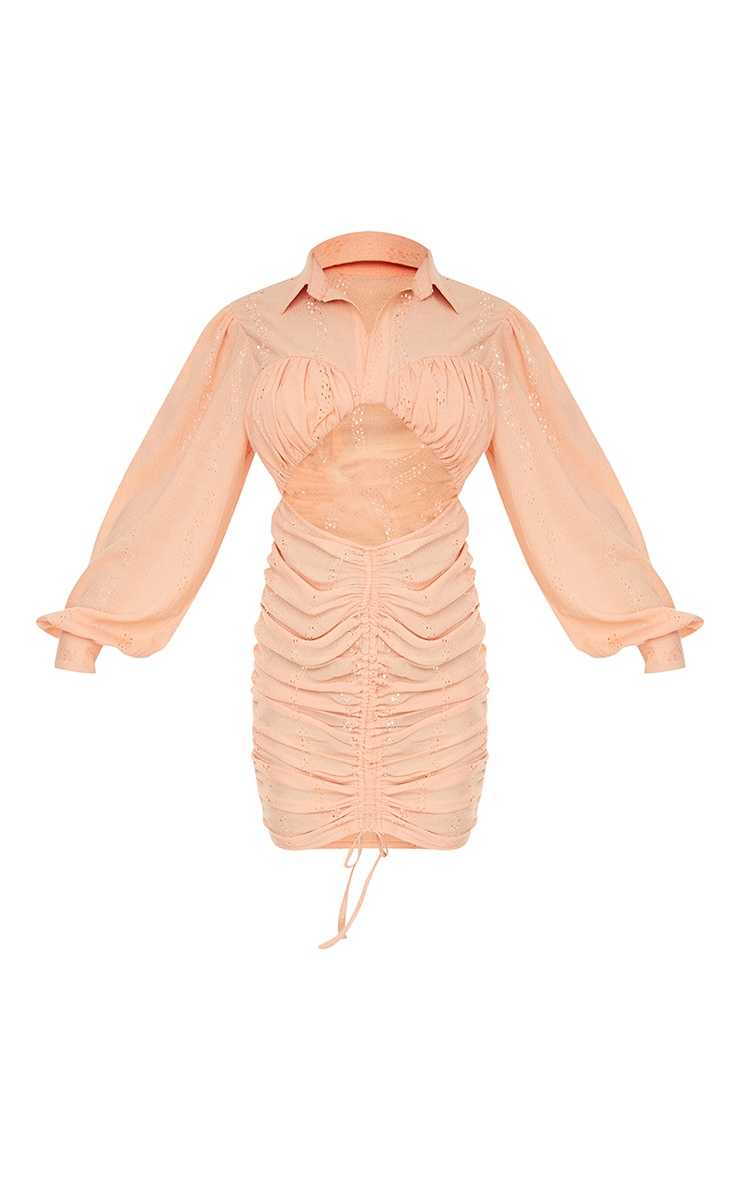 Tangerine Textured Cut Out Ruched Long Sleeve Bodycon Dress 5