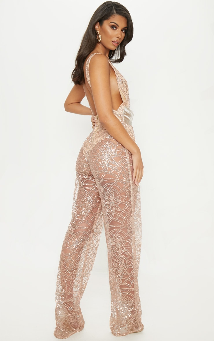 Rose Gold Glitter Plunge Belt Detail Jumpsuit 2