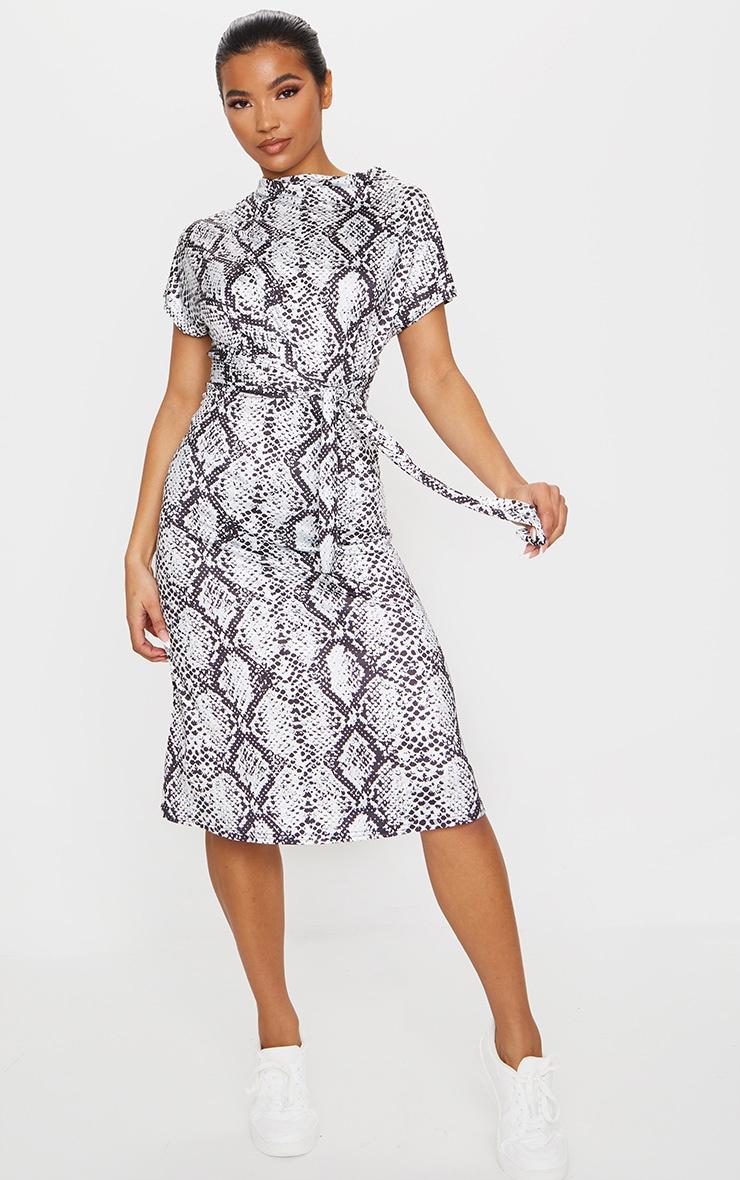 Grey Slinky Snake Print Wrap Detail Shift Midi Dress 1