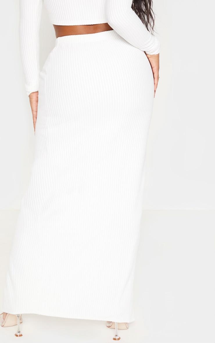 Shape Cream Jumbo Rib Split Front Midaxi Skirt 3