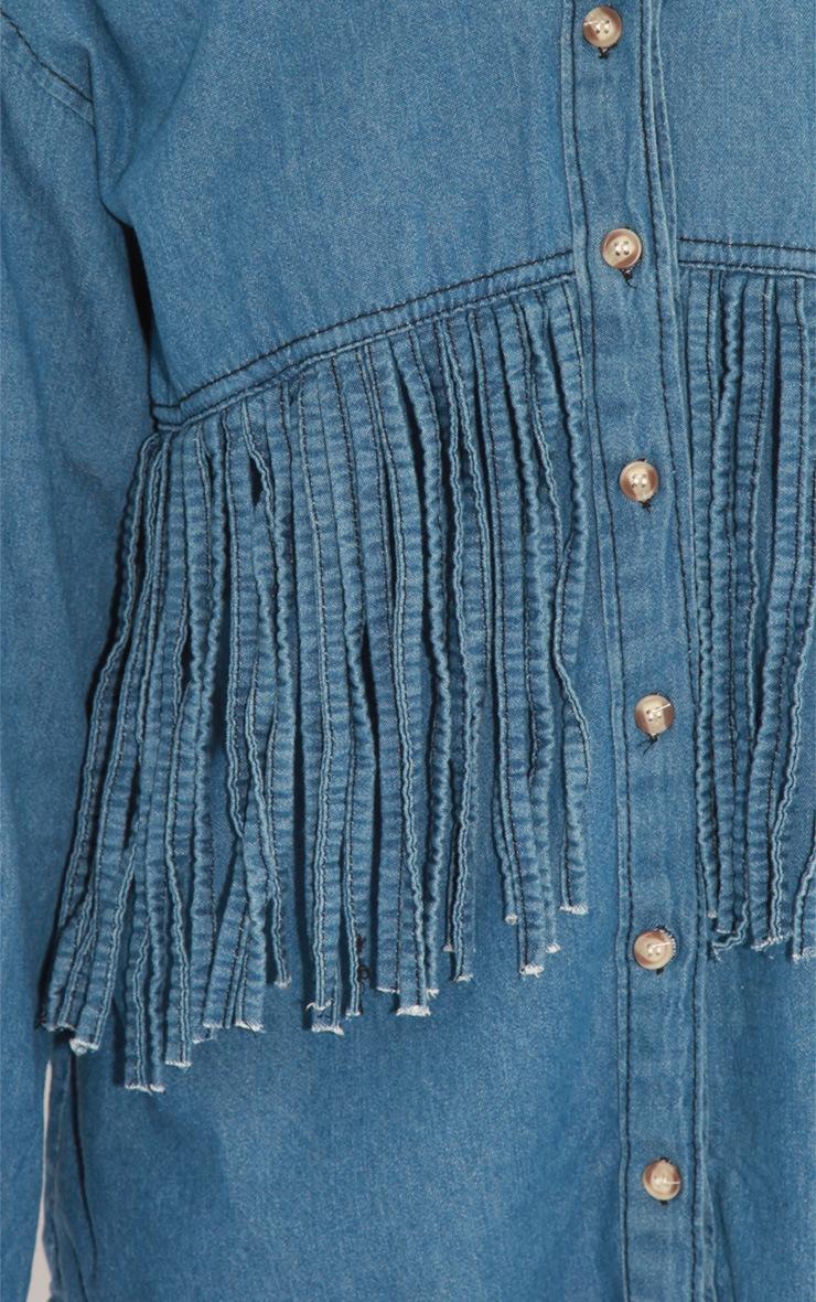 Renee Blue Denim Tassel Shirt 5