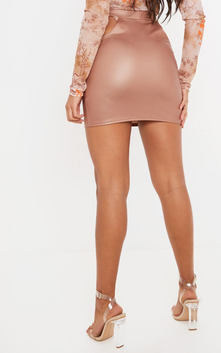 Taupe Faux Leather Cut Out Detail Mini Skirt  4