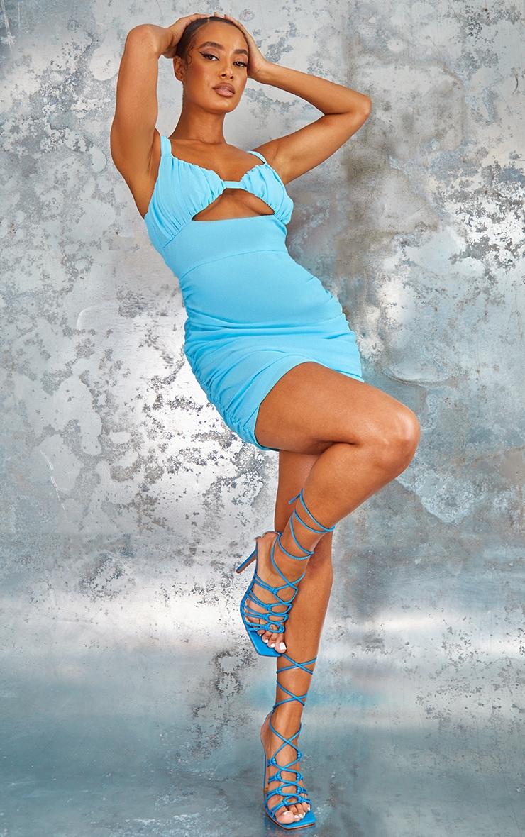 Aqua Blue Chiffon Ruched Underbust Cut Out Bodycon Dress 3