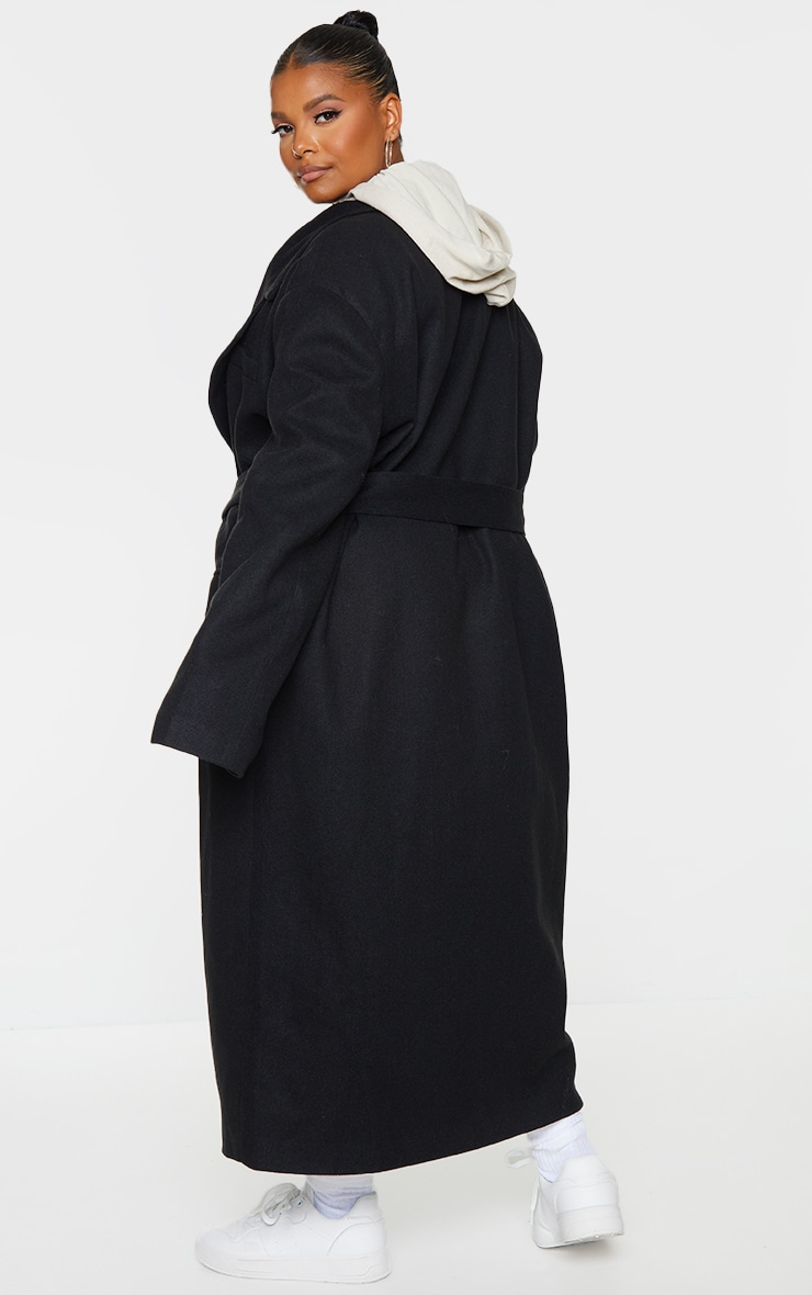 Plus Black Oversized Tie Waist Midi Coat 2