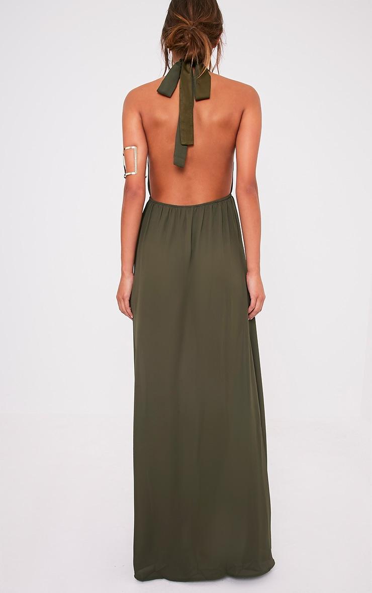Alina Khaki Plunge Maxi Dress 2