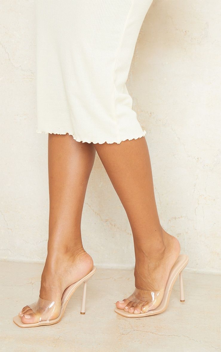 Nude Wide Fit Clear Strap Heeled Mules 2