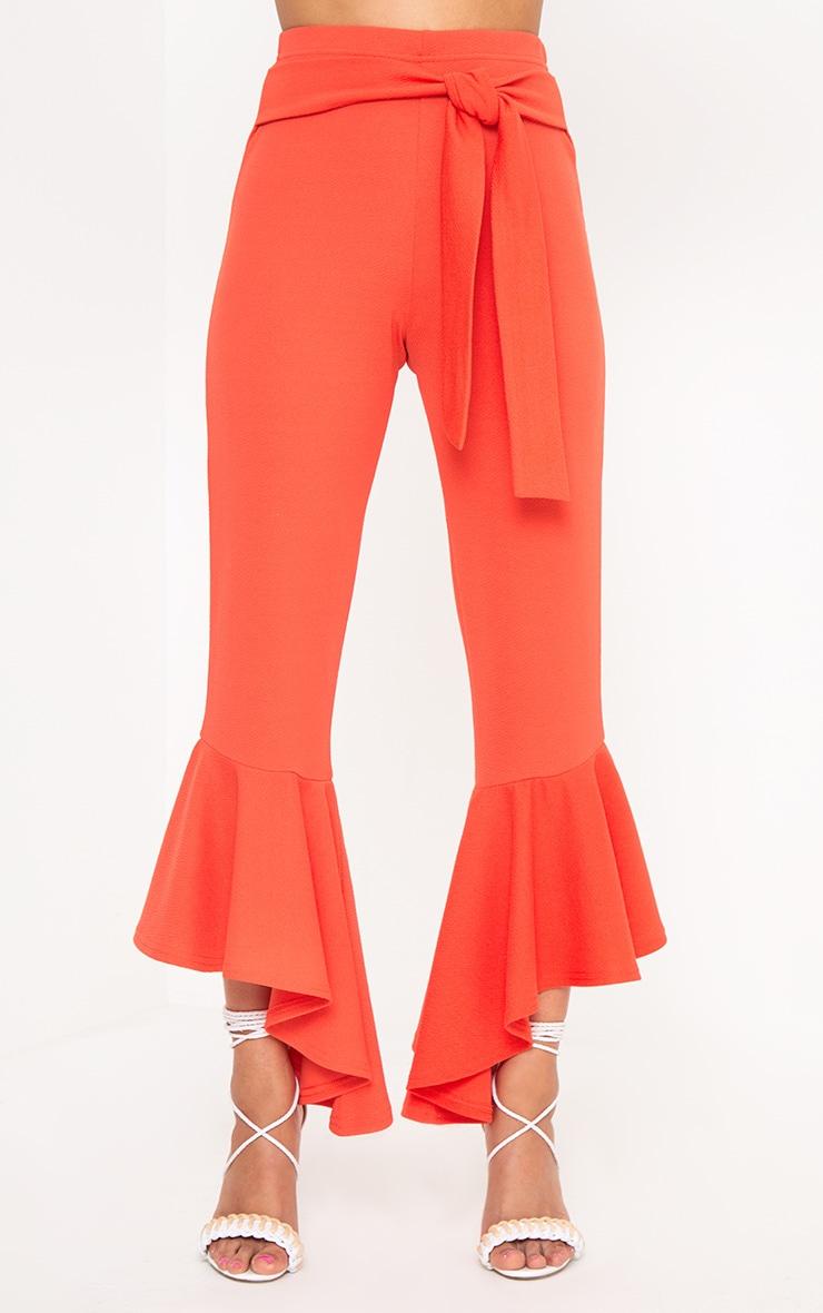 Orange High Low Hem Tie Waist Trousers 2