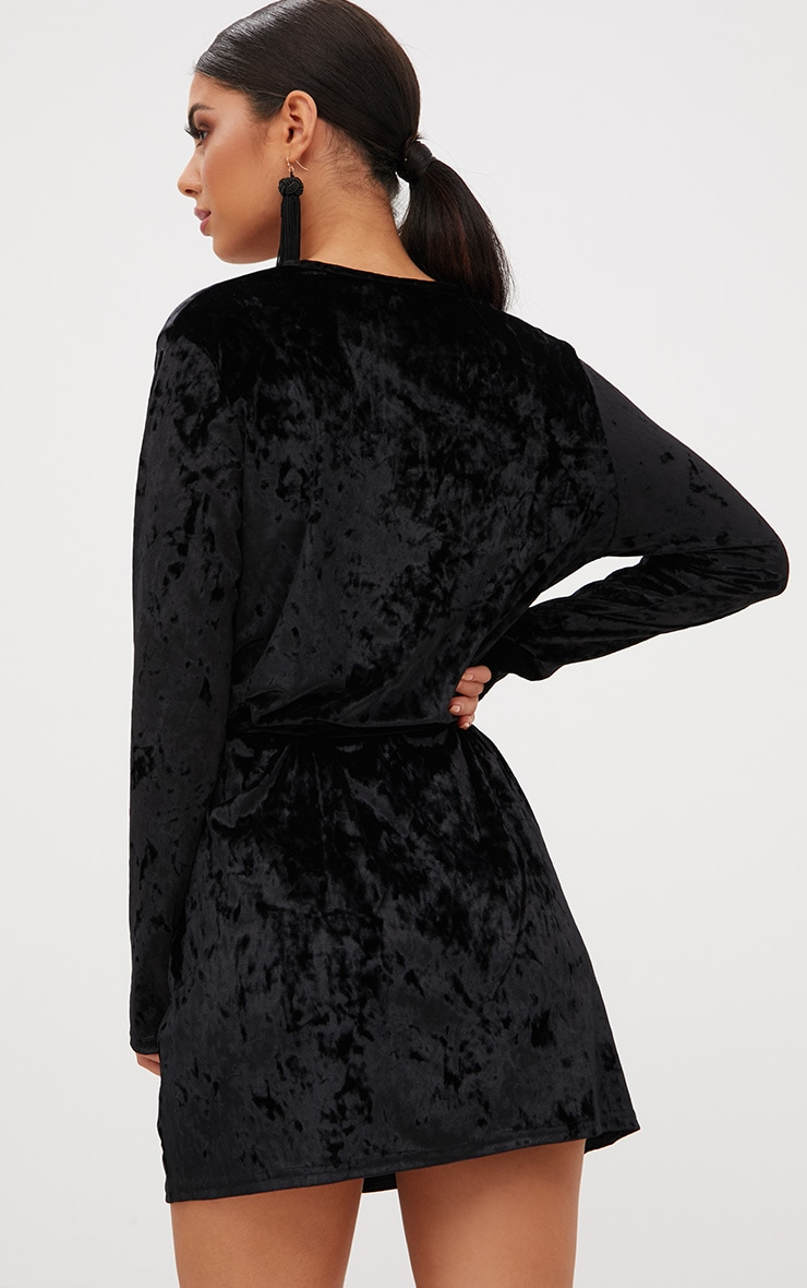 Black Velvet Wrap Over Shift Dress 2