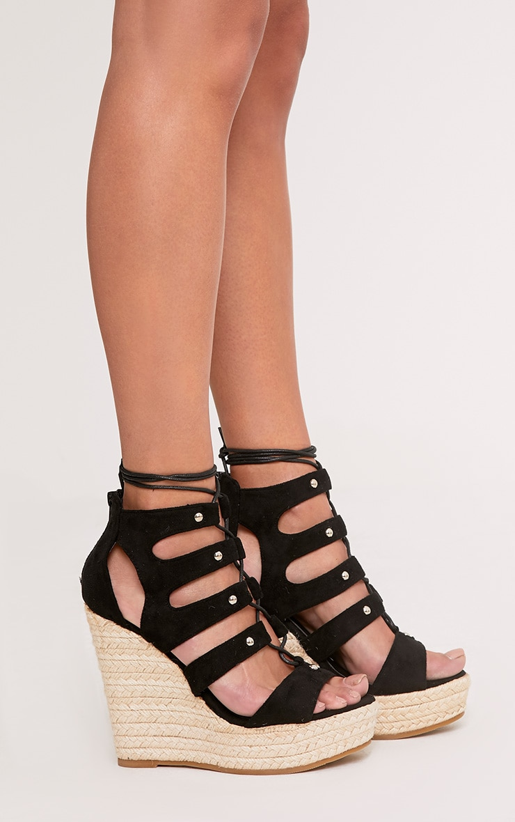 Louisella Black Lace Up Wedges  3
