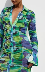 Green Abstract Print Mesh Ruched Oversized Cuff Shirt Dress 4