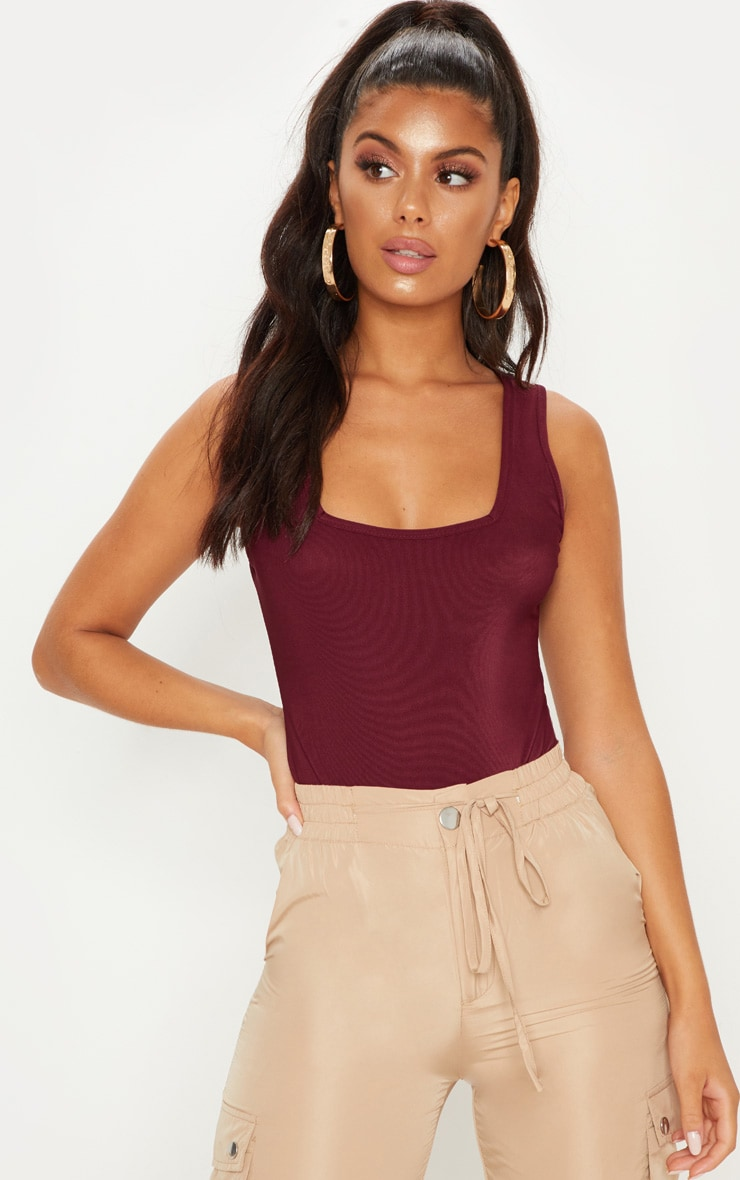 Deep Burgundy Textured Square Neck Bodysuit 2