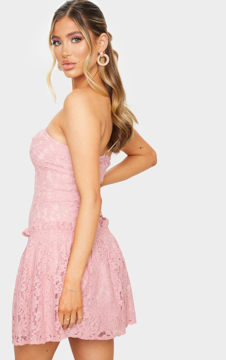 Rose Lace Bandeau Frill Hem Skater Dress 2