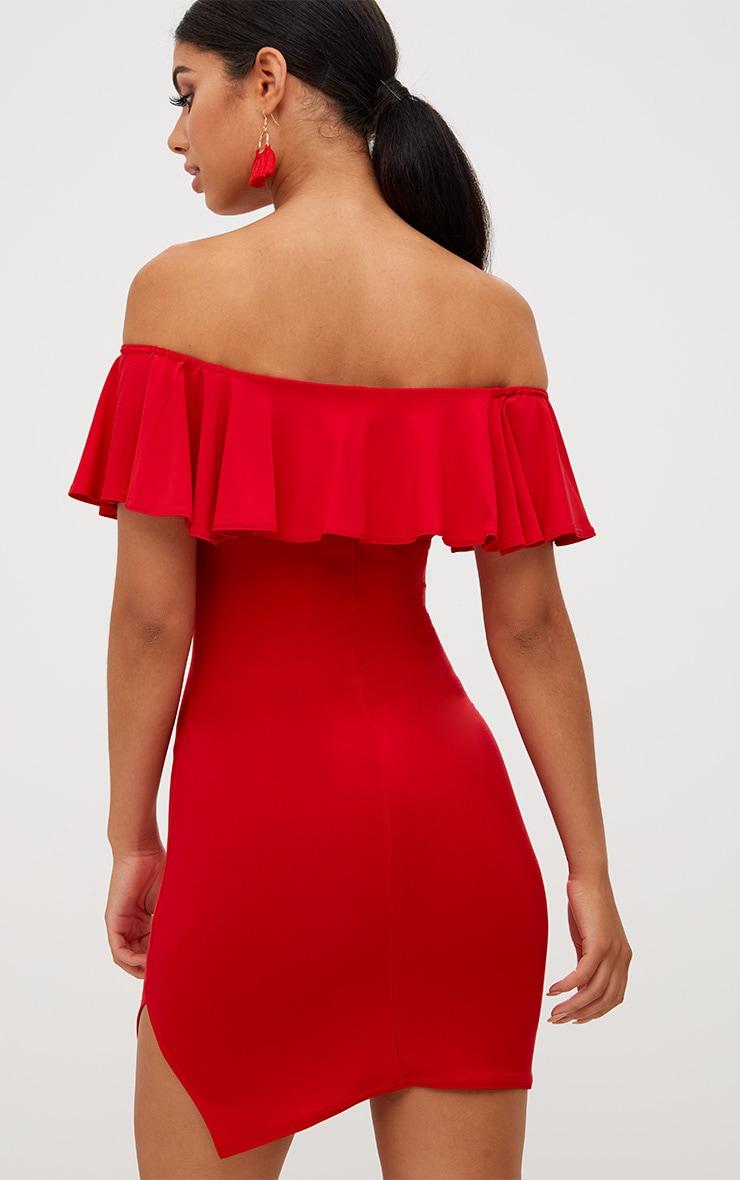 Red Bardot Frill Split Side Bodycon Dress 2