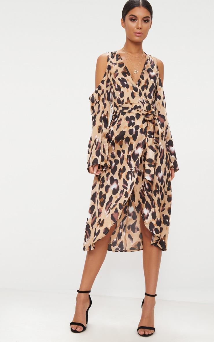 Leopard Satin Midi Dress 1