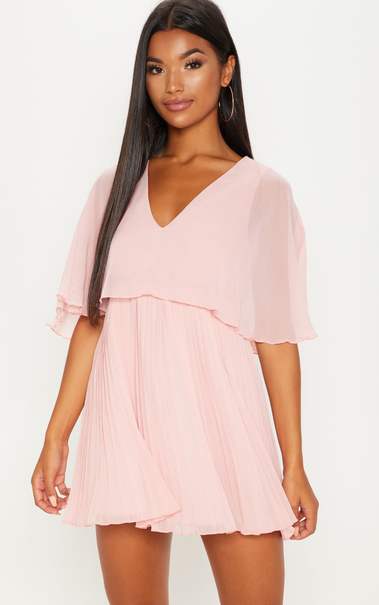 Dusty Pink Cape Pleated Detail Skater Dress 4