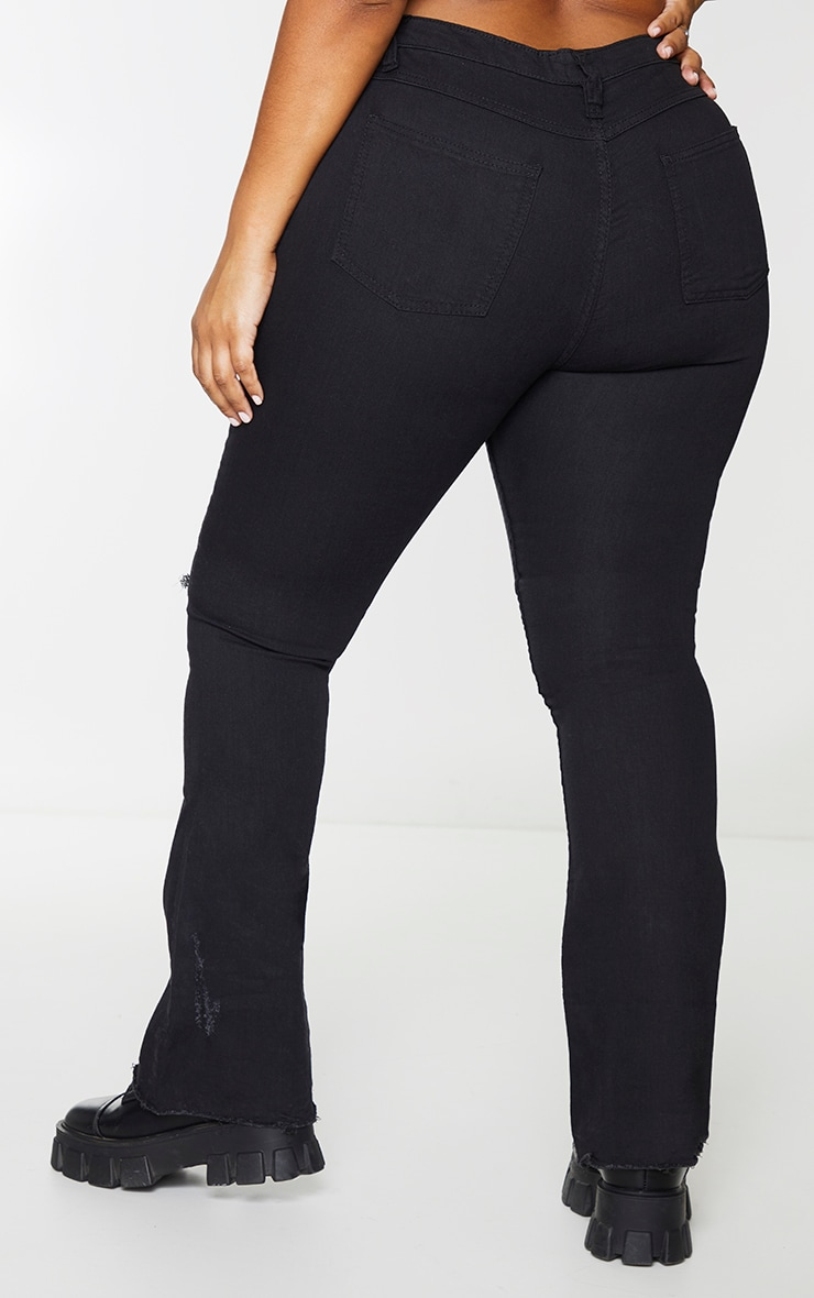Plus Black Ripped Knee Flare Jeans 3