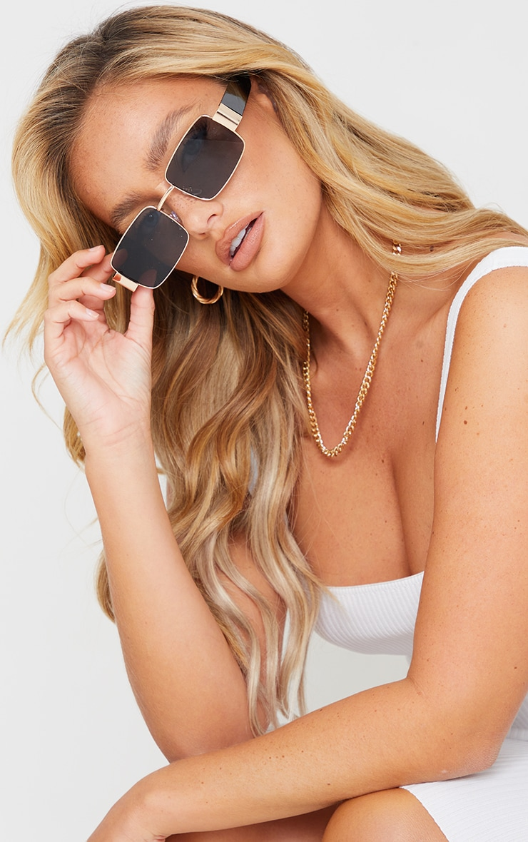 Black With Gold Frame Small Square Vintage Effect Sunglasses image 1