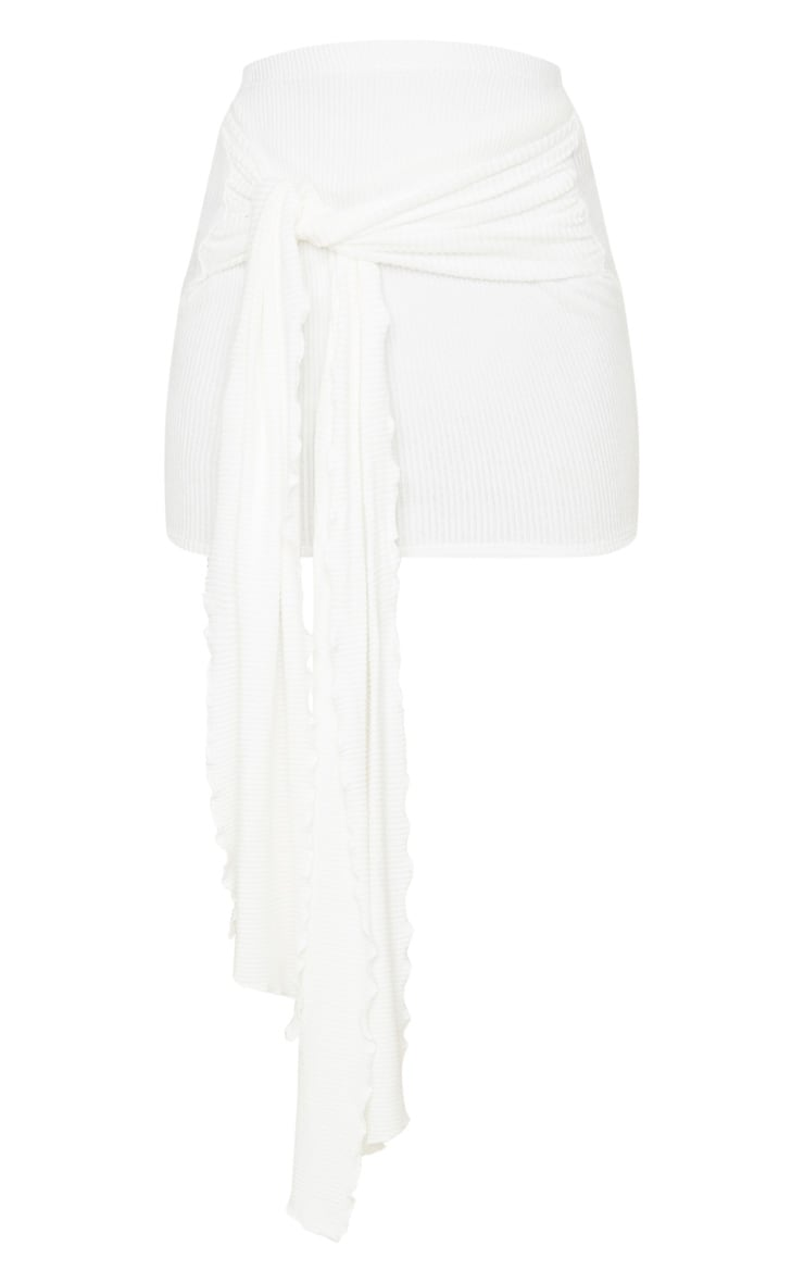 Cream Brushed Rib Extreme Tie Mini Skirt 3