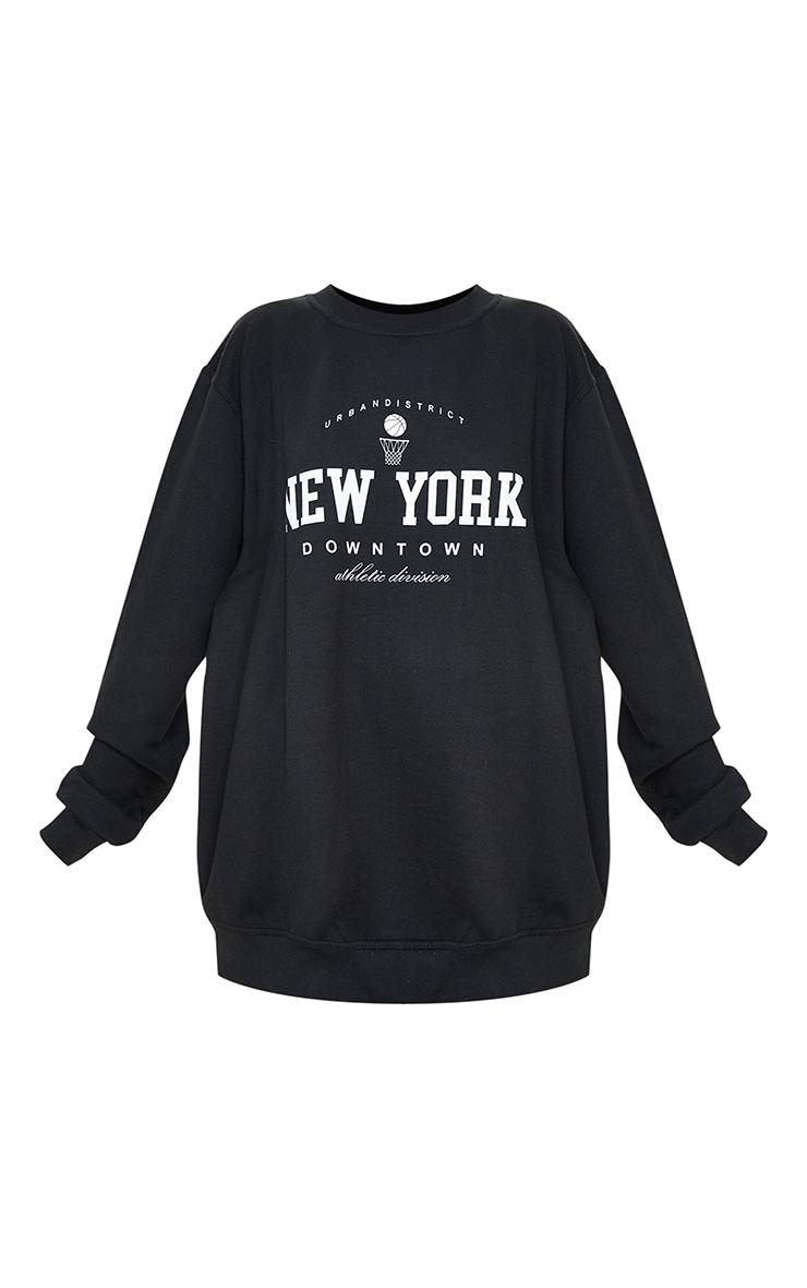 Sweat noir à slogan imprimé New York Downtown 5
