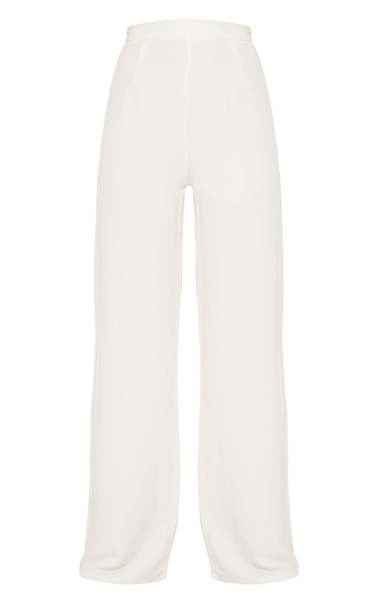 Cream Textured Crinkle Wide Leg Trousers 5