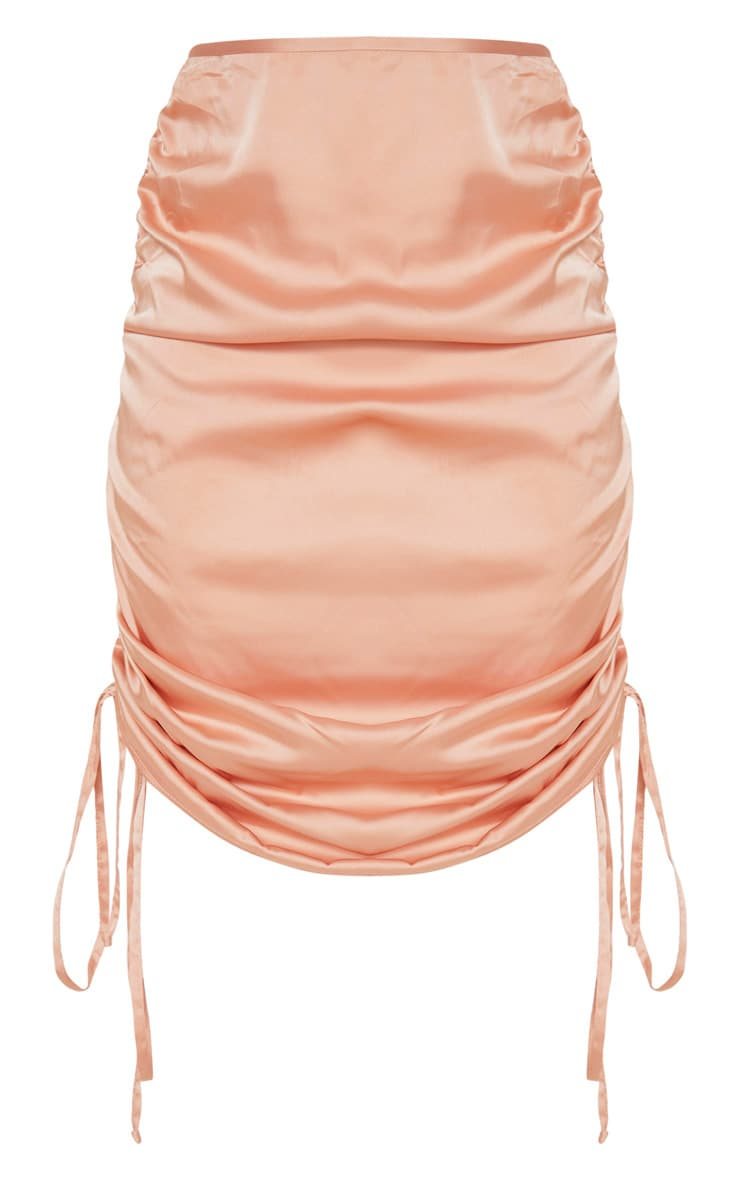 Peach Ruched Satin Mini Skirt  3