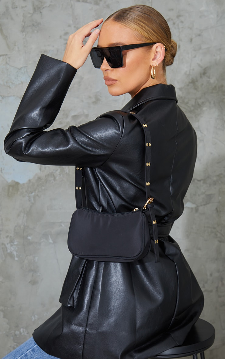 Black Nylon Eyelet Strap Mini Shoulder Bag 1