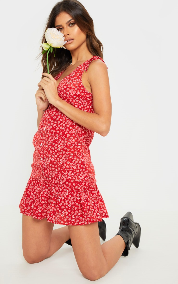 Red Ditsy Floral Button Through Shift Dress 5