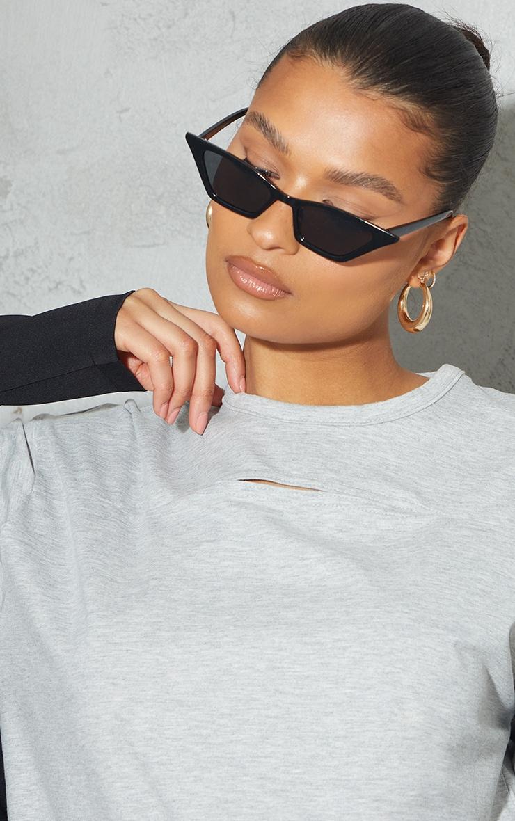 Grey Cut Out Detail Oversized T Shirt Dress 4