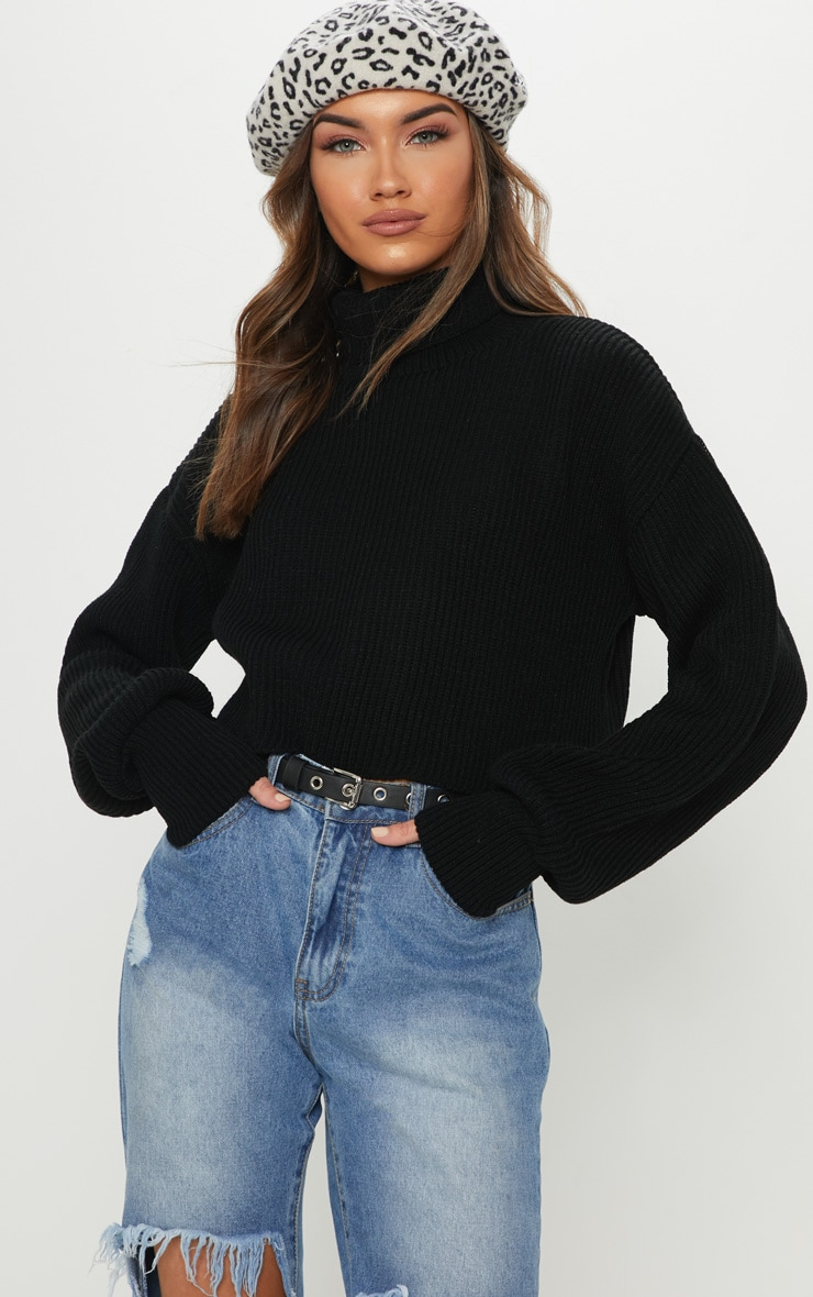 Black Ribbed Knit High Neck Jumper  1