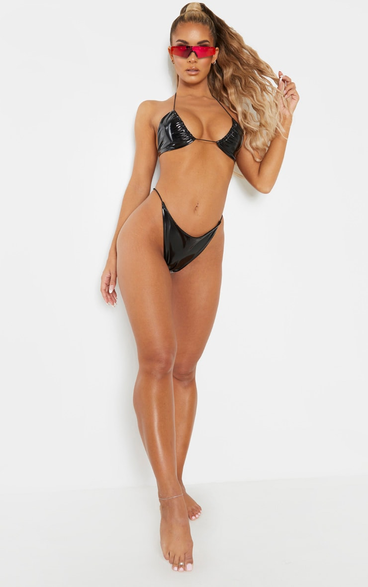 Black Vinyl Elasticated Tie Side Bikini Bottom 5